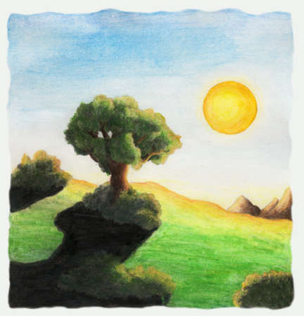 a colorful abstract watercolor painting of a tree standing in a landscape throwing a shadow while the sun is shining. This image is scanned from one original illustration from me. Stock Photo