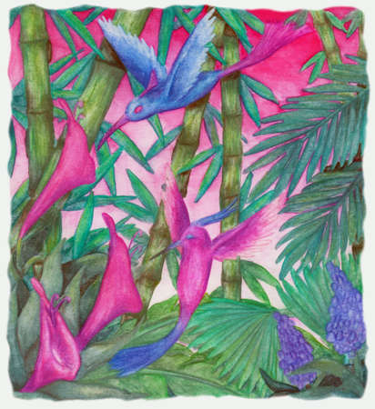a colorful abstract watercolor painting of two hummingbirds flying in front of an orchid among bamboo plants in the jungle. This image is scanned from one original illustration from me.