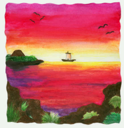 a colorful abstract watercolor painting of a lonely ship swimming in the vast sea along the horizon while sunset. This image is scanned from one original illustration from me. Stock Photo