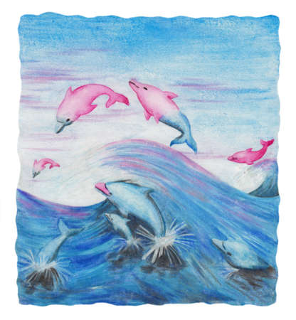 a colorful abstract watercolor painting of a group of magical dolphins changing the color of Their skin from blue into pink When leaping out of the water. This image is scanned from one original illustration from me. Stock Photo
