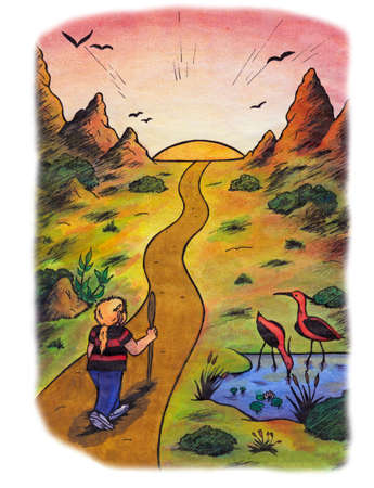 an abstract watercolor illustration of a young woman walking along a path leading through a fascinating nature landscape, heading towards the setting sun at the end of the horizon Stock Photo