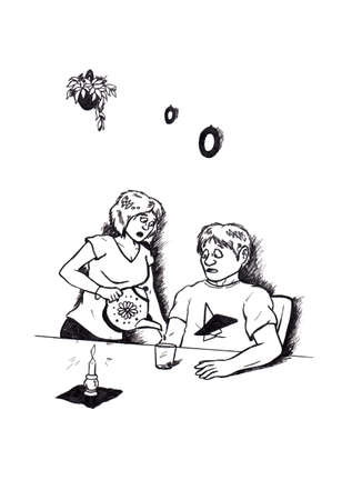an abstract cartoon illustration of a young woman who wants to give a man some tea and is disappointed about the tea pot being empty Stock Photo