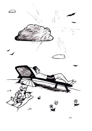 an abstract cartoon illustration of a young man lying in a deck-chair and relaxing while the sun is shining behind a cloud while a mouse is so basking in the sun and reading a book
