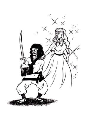 an abstract cartoon illustration of a samurai warrior holding up a katana sword while a fairylike woman is floating behing him Stock fotó
