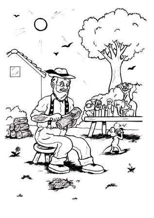 an abstract cartoon illustration of an old man sitting in the garden and carving figures of wood while a mouse is riding on one of his figures being photographed by another mouse