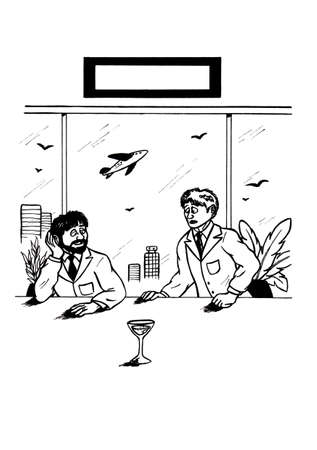 an abstract cartoon illustration of two men sitting on a table in a room close to an airport and watching a glass where a smaller amount of wine or water is left. One man looks Concerned while the other one Appears optimistic. This image shows the literal