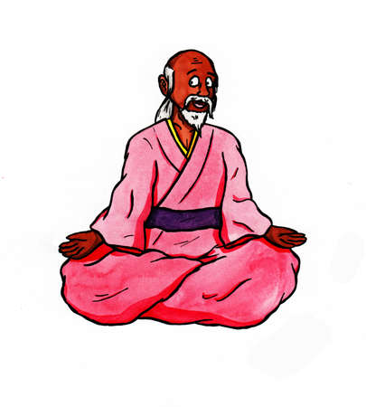 a colorful abstract watercolor painting illustration of a happy zen master sitting in a lotus position and smiling, a simple motive