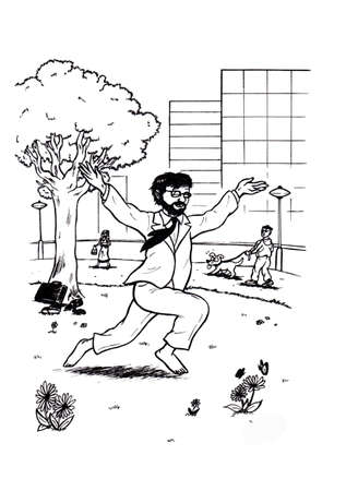an abstract cartoon illustration of a business man dancing barefoot through grass in the park of a city