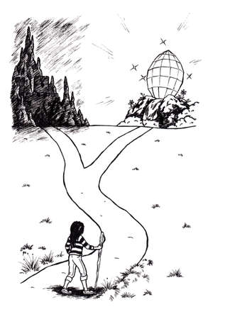 an abstract cartoon illustration of a young woman facing two paths leading to darkness or light, a symbolic image Stock Photo