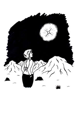 an abstract cartoon illustration of a young woman gazing upon the night sky and watching a shining star