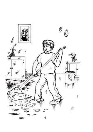 an abstract cartoon illustration of a young man cleaning his house and feeling happy while an image of his girlfriend hangs on the wall, the girl looks at him and smiles