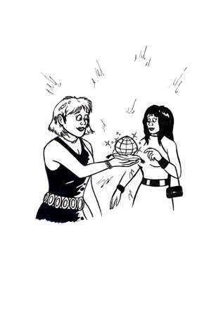 an abstract cartoon illustration of a woman holding a large diamond shining in her hand, showing it to a younger woman who Looked surprised at it Stock Photo