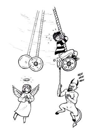an abstract cartoon illustration of a young man hanging on a large pendulum with an angel smiling at him while on insolent evil grinning devil bullies him