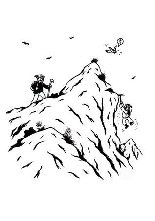 an abstract cartoon illustration of two men climbing up a mountain, one walks up on one side while the other one toils himself up the slope, Both want to reach the top and choose different ways to reach Their goal