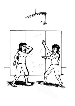 an abstract cartoon illustration of two young girls standing in front of a mirror, smiling and talking to eachother