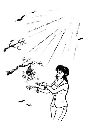 an abstract cartoon illustration of a young woman standing in front of a tree, enjoying to watch a butterfly hatch out of a cocoon, a miracle of life