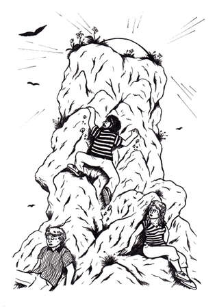 an abstract cartoon illustration of an ambitious young man climbing up a mountain towards the shining sun while another man and a woman are giving up Stock fotó