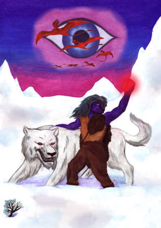 an abstract watercolor painting illustration of a bold eleven man and a fierce arctic wolf walking through a snowy winter landscape, the elf is holding up a red glowing jewel gemstone in his hand while are a group of flying red dragons are shown in the ba Stock Photo