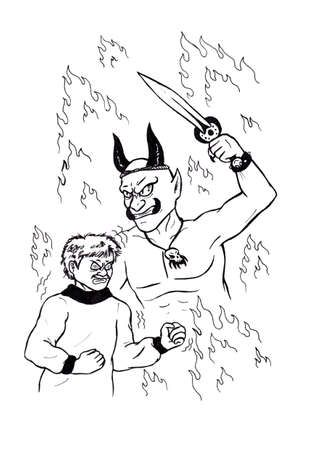 an abstract cartoon illustration of an angry man literally being about to explode in fury while the vision of a horned demon, surrounded by flames Appears; a symbol picture showing to accept your feelings and emotions and to face your inner demons without Stock Photo