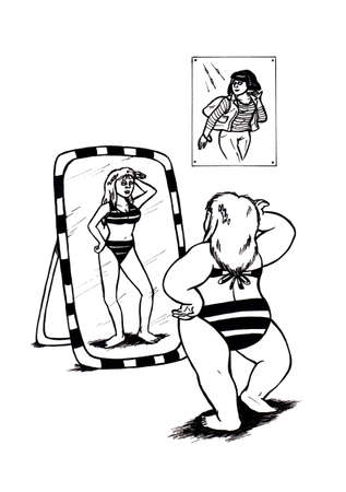 an abstract cartoon illustration of an obese girl posing in front of a mirror and wearing a striped bikini while imaging herself slim and more attractive