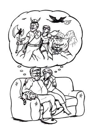 fascinação: Uma ilustração de desenho animado abstrato de um casal relaxando em um assento enquanto sonhava em ser um herói de fantasia em uma paisagem de fantasia. Seu gato dormindo aparece como um gigante tigre de sabretooth feroz em sua imaginação Banco de Imagens
