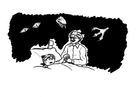 an abstract cartoon illustration of a loving father consoling his scared child who had a nightmare while visions of the nightmarish creatures are flying over the kids bed