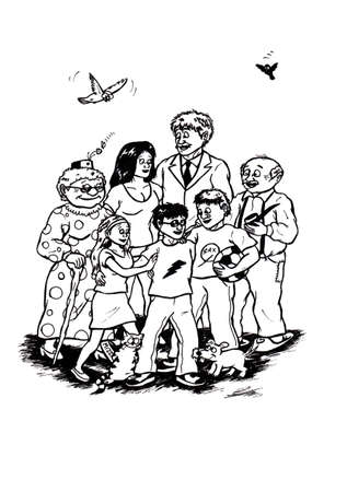 an abstract cartoon illustration of a happy boy surrounded by his parents, siblings, pets and grandparents