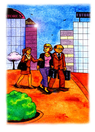 an abstract watercolor painting cartoon illustration of three happy business people, two young women and one man walking through a city and talking to eachother