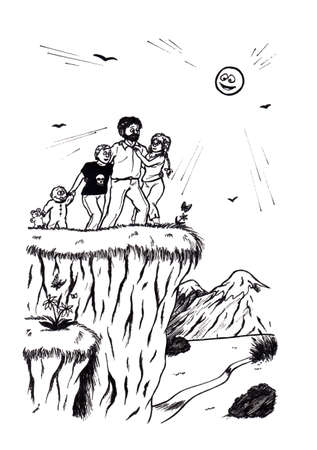 an abstract cartoon illustration of a family walking in nature, standing on a slope and enjoying life