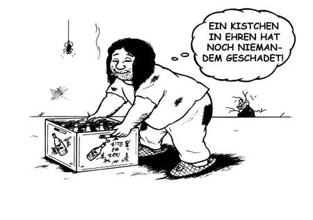 hartz 4: an abstract cartoon illustration of a cliche about people receiving Hartz 4, social aid, showing at obese guy with long hair in a basement, grasping a crate of beer and smiling while smoking a cigarette and thinking did it would not hurt to drink the Enti Stock Photo