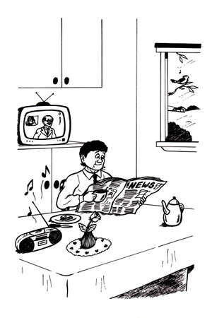 an abstract cartoon illustration of a man reading newspaper while having breakfast at the same time with television running in background, showing a guy talking