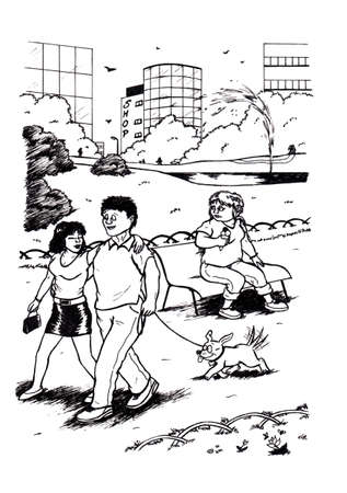 an abstract cartoon illustration of a young couple walking in the park With Their dog Following them and talking to eachother while another woman sitting on a bench with an ice cream in her hand, watches them and looks sad while the high buildings of the  Stock fotó