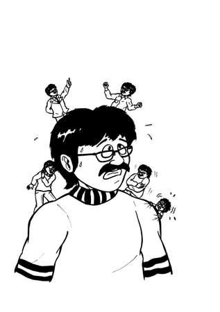 una ilustración abstracta de dibujos animados de un hombre confrontado con sus diferentes personalidades mostrando diferentes emociones, mostrando la complejidad de la personalidad humana, una situación que todo el mundo tiene y tiene que pasar