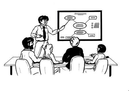 an abstract cartoon illustration of a business man debating with his motivated and interested colleagues