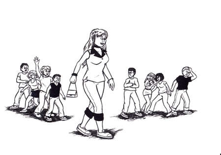 an abstract cartoon illustration, showing an attractive young woman walking with young men and women in background