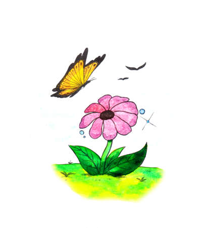 a colorful abstract watercolor painting illustration of a blossoming pink flower and a butterfly flying around it, a simple motive