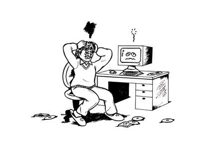 an abstract cartoon illustration, showing a stressed man with his computer All which is making lots of problems