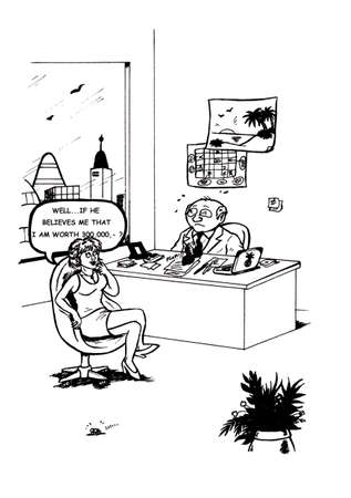 an abstract cartoon illustration, showing a female employee negotiating with her boss upset about salary and making him upset with her weird envisions of earnings, Which scares the boss horribly