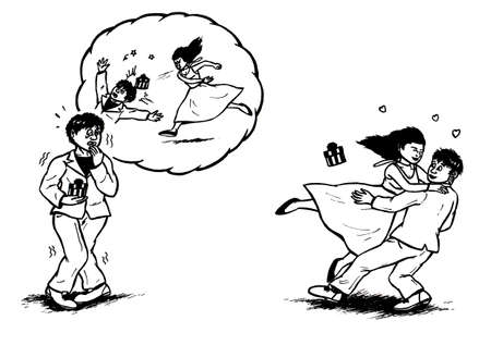 an abstract cartoon illustration, showing a scared young man being nervous at his date while having horror visions of his girlfriend throwing a plate on his head; in the second part of the image, his adored lover if happily around his neck