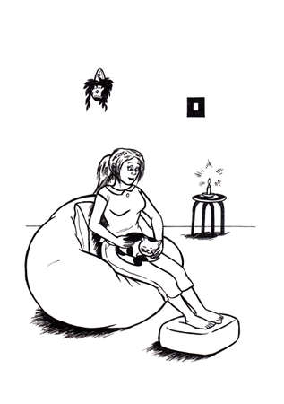 an abstract cartoon illustration, showing a smiling young woman sitting relaxed on a beanbag and holding her cat while the cat feels happy Stock Photo