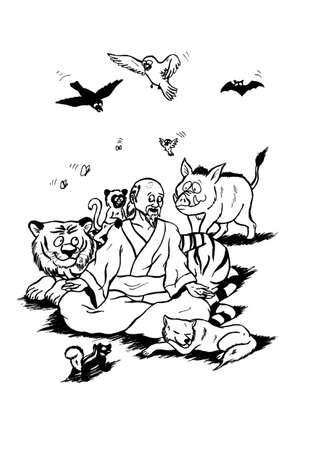an abstract symbolic cartoon illustration, showing a meditating zen master happy sitting in a lotus position and surrounded by happy animals, showing did he respects life itself, Including our animal fellows