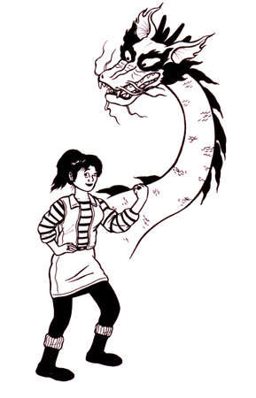 an abstract cartoon illustration of a young self confident girl with the vision of a chinese dragon Stock Photo