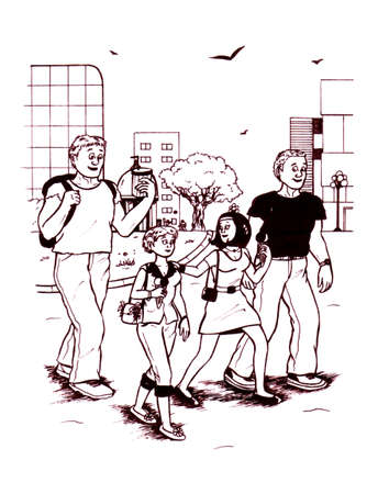 an abstract cartoon illustration of four happy young people walking through city while talking to eachother