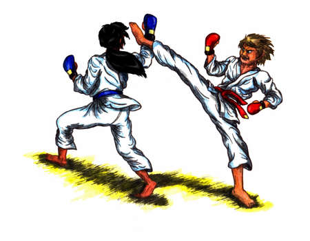 a colorful abstract watercolor painting illustration of two men wearing grappling gloves and colored belts and fighting eachother with karate in a tournament combat