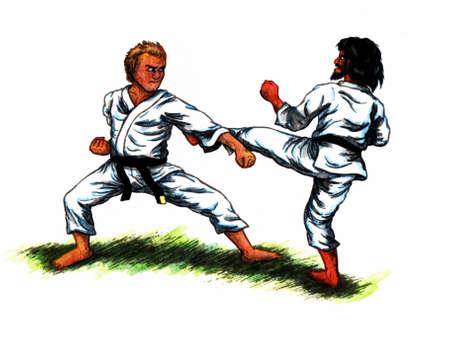 Barevné abstraktní akvarel malování ilustrace dvou mužů na sobě černých pásů a bojovat proti sobě s karate Reklamní fotografie
