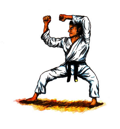 a colorful abstract watercolor cartoon illustration showing a man wearing a black belt doing a kata sequence in karate