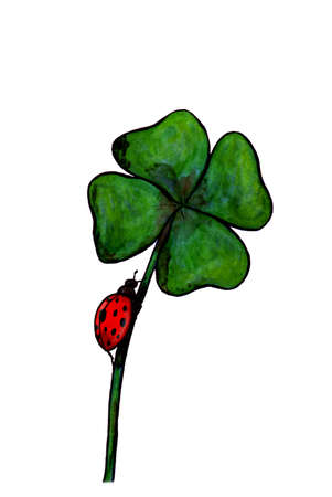 an abstract watercolor painting illustration of a ladybird beetle climbing up a clover plant, a simple motive Stock Photo