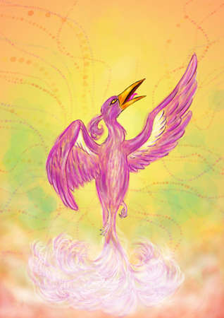 an abstract painting illustration of a soaring phoenix, manifesting in a divine aura and rising up into the air; the blurring is Intended and a part of that special artwork