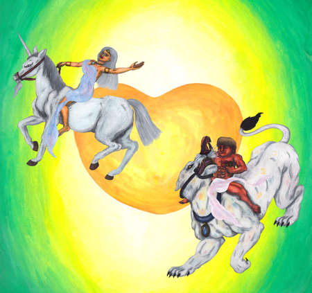 an abstract colorful watercolor painting illustration of a male god riding a large white lioness while holding a goblet of wine and a young goddess riding a male unicorn smiling and enjoying Their love for each other in front of a big yellow-orange heart, Stock Photo