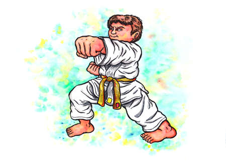 Abstract colorful watercolor cartoon illustration of a young boy wearing a karate suit with a yellow belt, smiling confidently and doing a punch; The whole image is hand drawn with ink and colored with watercolor and the blurring is intended and a part of